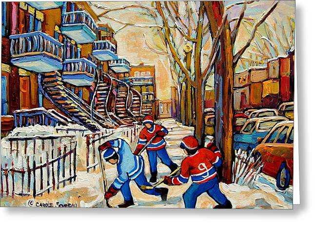 Streethockey Greeting Cards - Montreal Hockey Game With 3 Boys Greeting Card by Carole Spandau