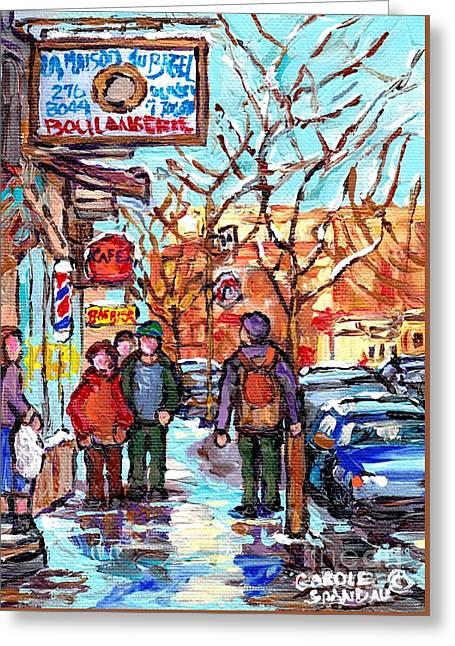 Montreal Landmark Marquee St Viateur Bagel Sign Snowy Winter Walk Canadian Artist Carole Spandau     Greeting Card by Carole Spandau
