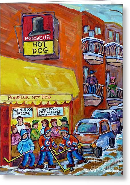Montreal Memories Favorite Hot Dog Diner Mr Hot Dog Canadian Winter Scene Hockey Art Carole Spandau  Greeting Card