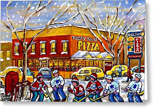 Montreal Memories Winter City Scene Tasty Food Pizza Parking Lot Hockey Game Canadian Art C Spandau  Greeting Card by Carole Spandau