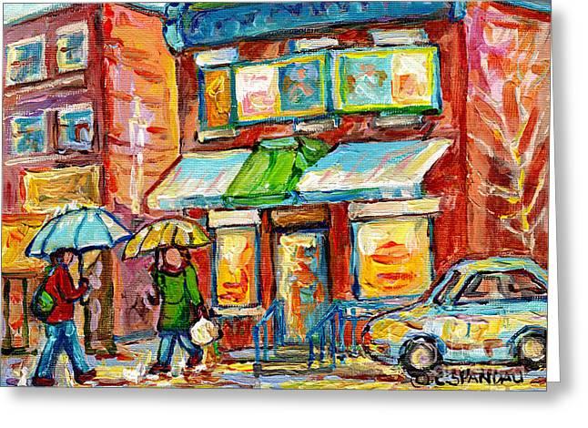 Montreal Rainy Day Paintings Fairmont Bagel Shop April Showers Umbrellas Canadian Art C Spandau      Greeting Card