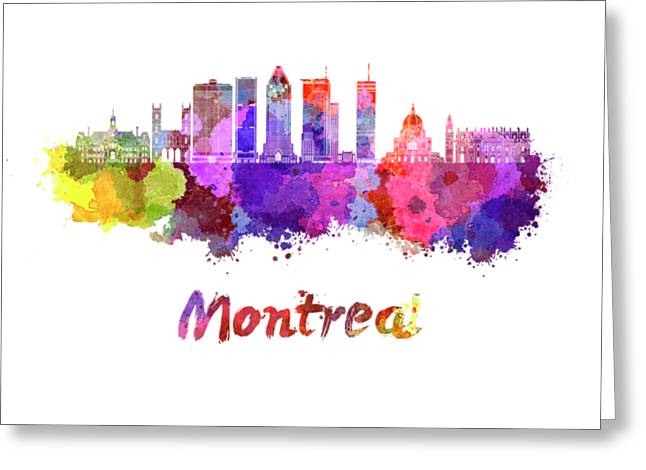 Montreal Skyline In Watercolor Splatters Greeting Card by Pablo Romero