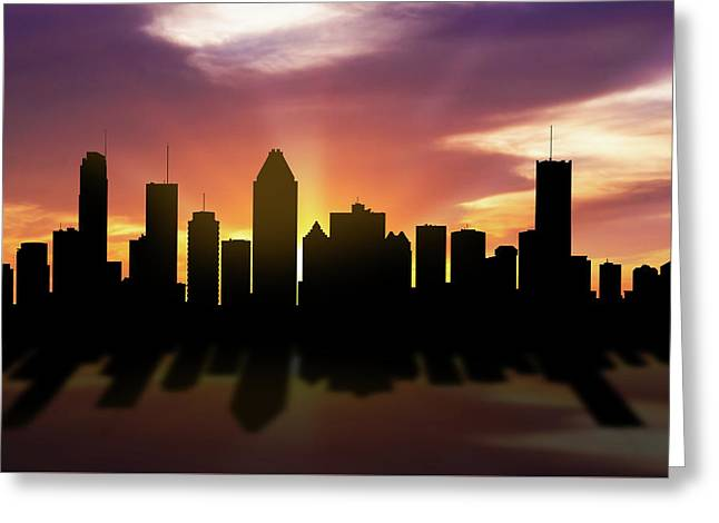 Montreal Skyline Sunset Caqcmo22 Greeting Card by Aged Pixel