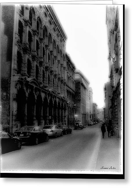 Montreal Street Black And White Greeting Card by Marko Mitic