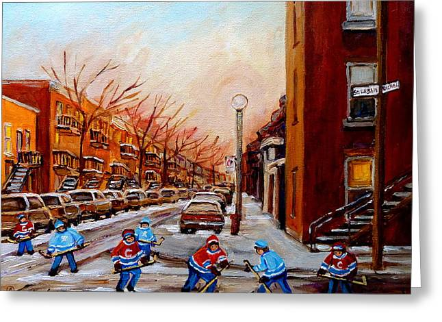 Montreal Street Hockey Game Greeting Card by Carole Spandau