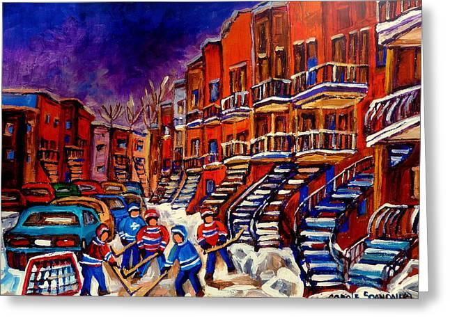 Montreal Street Scene Paintings Hockey On De Bullion Street   Greeting Card by Carole Spandau