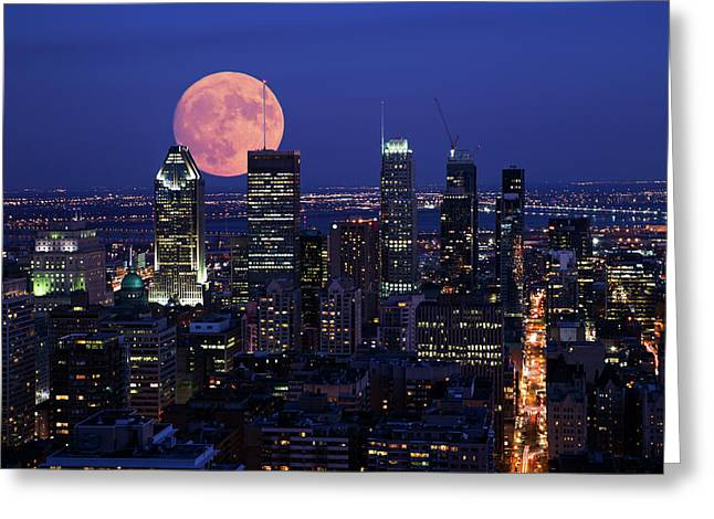 Greeting Card featuring the photograph Montreal Supermoon by Mircea Costina Photography