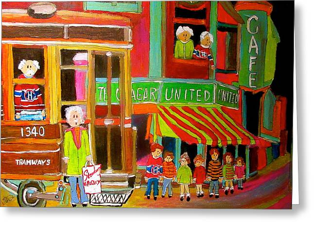 Montreal Tramways United Cigar Store Greeting Card by Michael Litvack