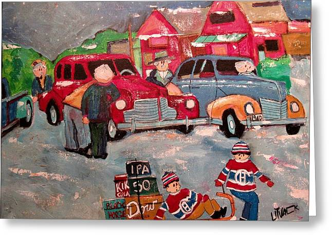 Vintage Montreal West Accident 1940 Greeting Card by Michael Litvack