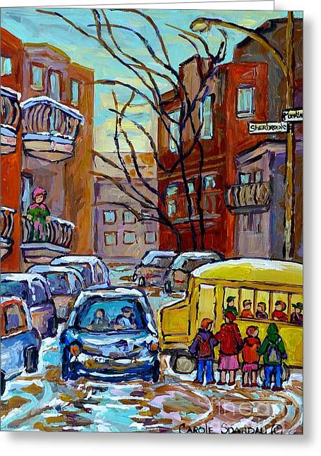Montreal Winter City Scene With Yellow School Bus Canadian Painting Carole Spandau                   Greeting Card
