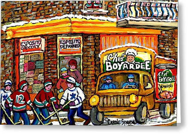 Montreal Winter Hockey Game Esposito Grocery Store With Chef Boyardee Truck Montreal Winter Scene Greeting Card by Carole Spandau