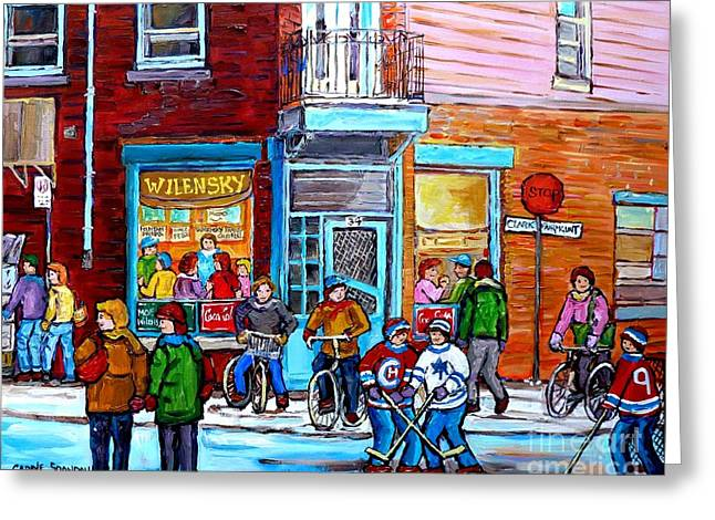 Montreal Winter Scene Bicycles And Hockey At Wilensky's Lunch Counter Canadian Art Carole Spandau Greeting Card