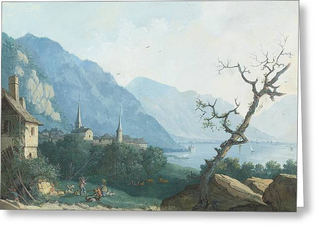 Montreux Von Nordwesten Greeting Card by Louis Albert Guislain Bacler d'Albe