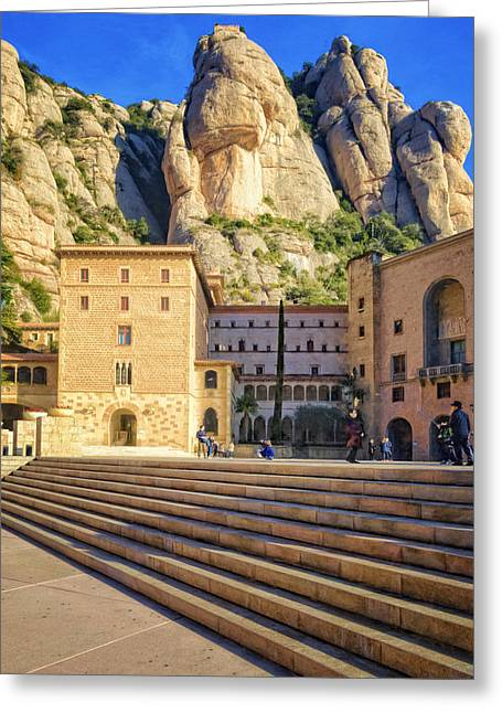 Montserrat Plaza Greeting Card by Joan Carroll