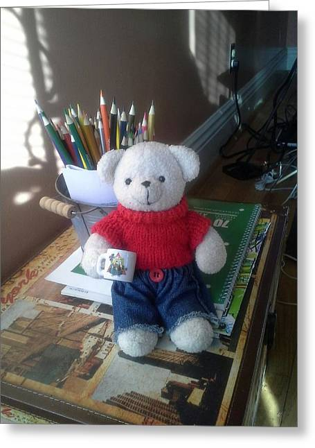 Monty At Writing Desk Greeting Card