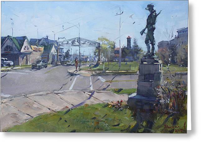 Monument At Pine Ave And Portage Rd Greeting Card by Ylli Haruni