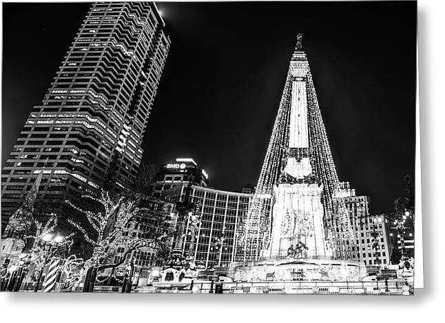 Greeting Card featuring the photograph Monument Circle At Christmas - Black And White by Gregory Ballos