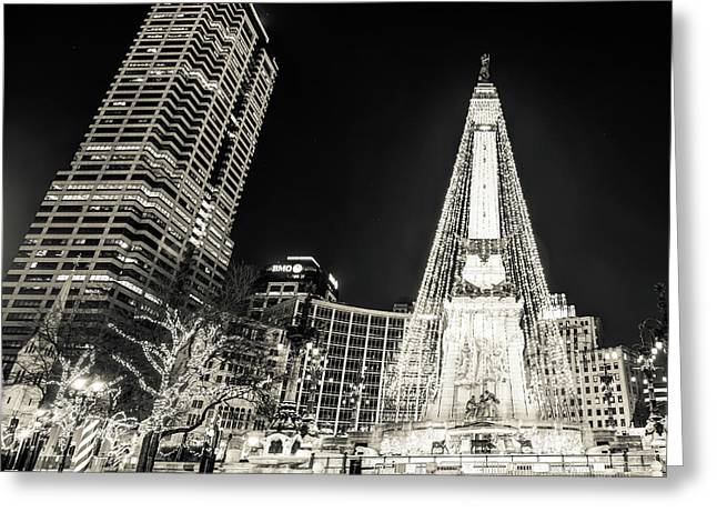 Greeting Card featuring the photograph Monument Circle At Christmas - Sepia by Gregory Ballos