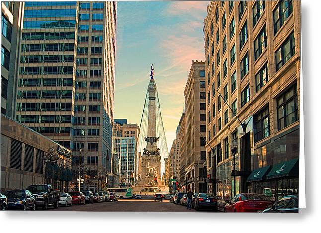 Monument Circle - Indianapolis Greeting Card by Mark Orr
