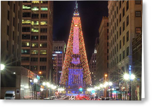 Monument Circle Greeting Card by Twenty Two North Photography