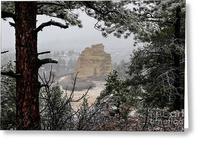 Monument Rock In The Snow Greeting Card