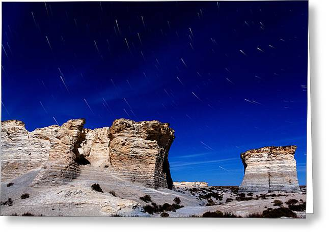 Monument Rocks Moonlight Greeting Card