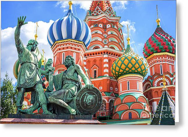 Greeting Card featuring the photograph Monument To Minin And Pozharsky by Delphimages Photo Creations
