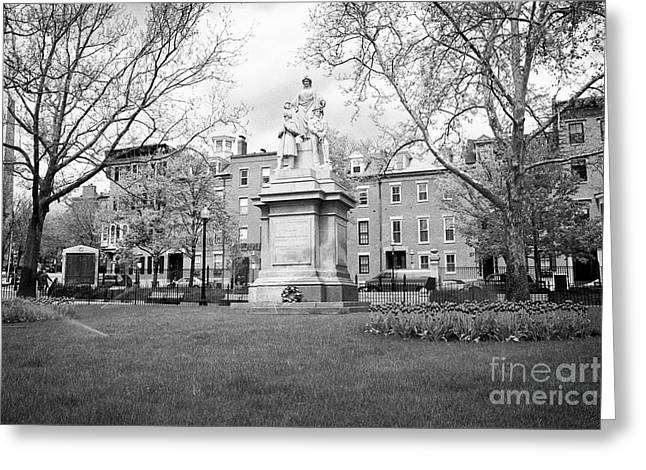 monument to the men who fought in the war of 1861 civil war The training field at winthrop square ch Greeting Card