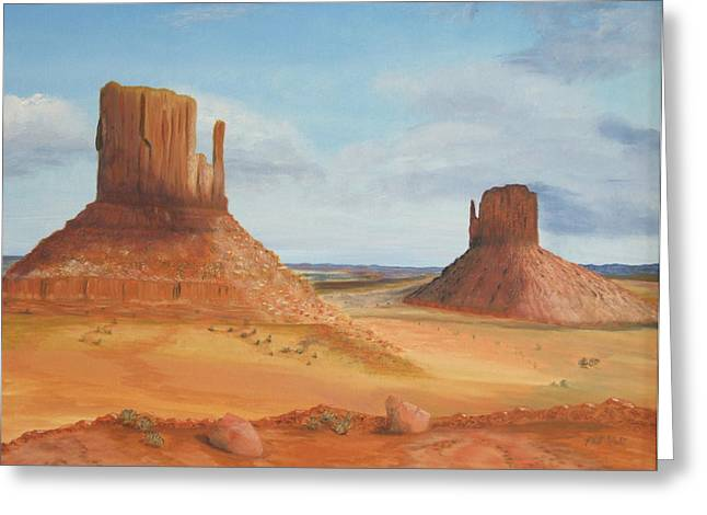 Monument Valley    The Mittens Greeting Card by Philip Hall