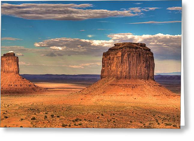 Monument Valley At Dusk Greeting Card by William Wetmore