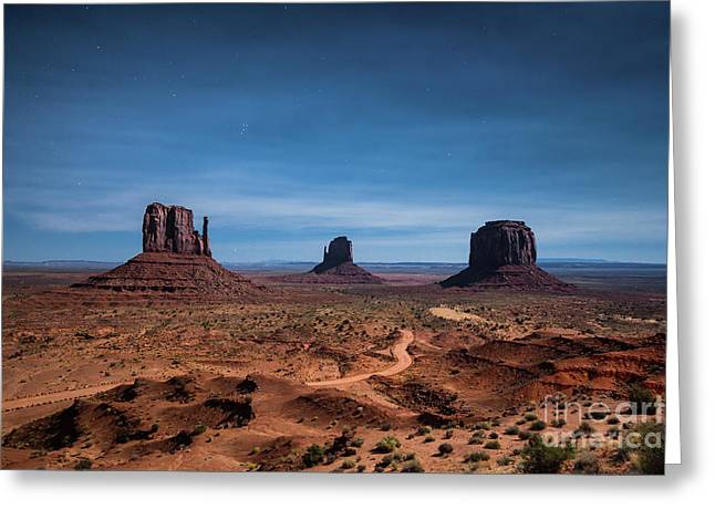 Monument Valley At Full Moon Greeting Card by JR Photography