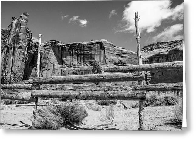 Greeting Card featuring the photograph Fence In Monument Valley - Bw by Dany Lison