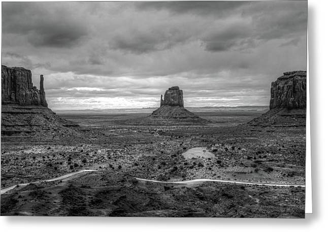 Monument Valley Bw Greeting Card