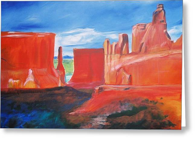Greeting Card featuring the painting Monument Valley  by Eric  Schiabor