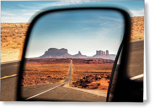 Monument Valley Rearview Mirror Greeting Card