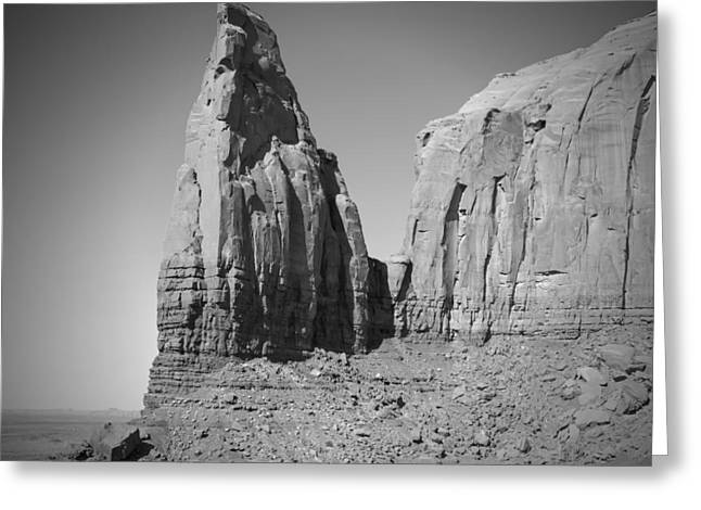 Monument Valley Spearhead Mesa Black And White Greeting Card by Melanie Viola