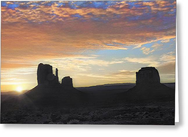Monument Valley - Sunrise Vista  Greeting Card by Steve Ohlsen