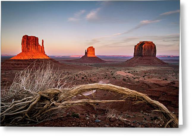 Greeting Card featuring the photograph Monument Valley Sunset by Wesley Aston