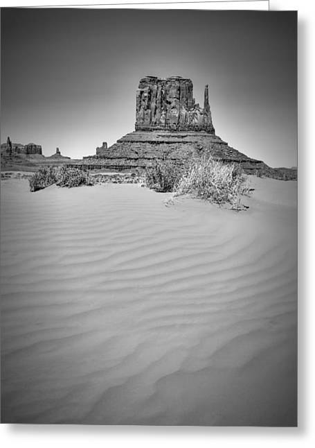 Monument Valley West Mitten Butte Black And White Greeting Card by Melanie Viola