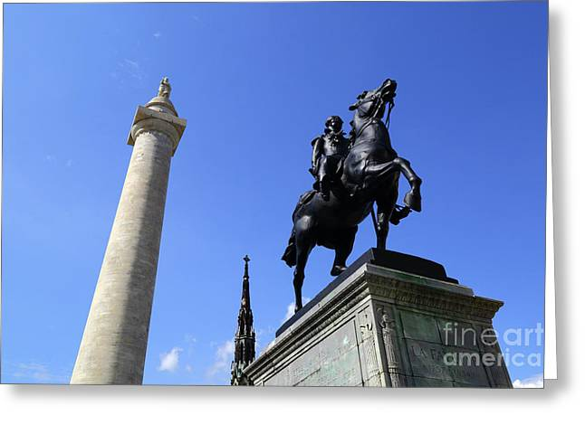 Monuments To George Washington And The Marquis De Lafayette Baltimore Greeting Card
