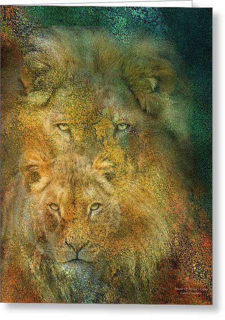Moods Of Africa - Lions Greeting Card by Carol Cavalaris