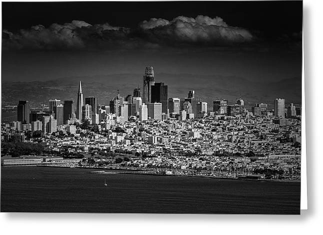 Moody Black And White Photo Of San Francisco California Greeting Card by Steven Heap