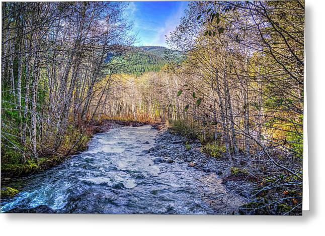 Moody Blue River Greeting Card by Spencer McDonald