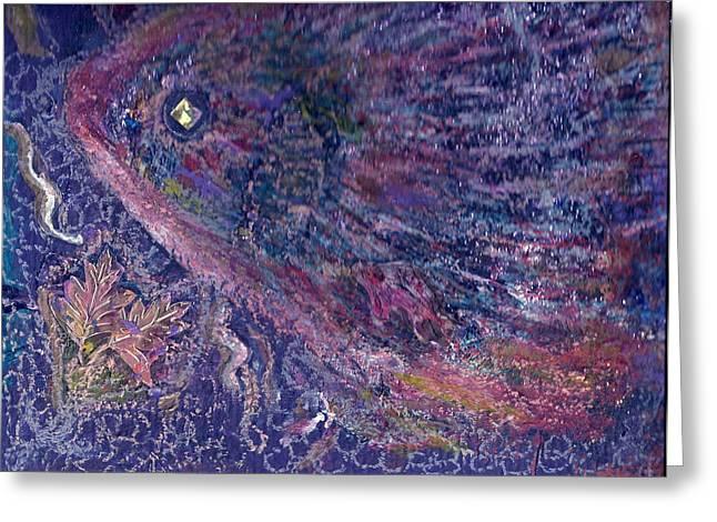 Moody Blues Fish With Sparkling Eye I Greeting Card by Anne-Elizabeth Whiteway
