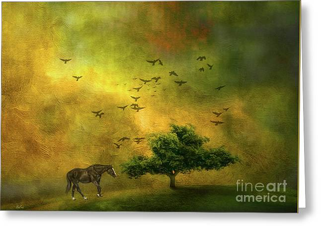 Moody Country Landscape Greeting Card by KaFra Art