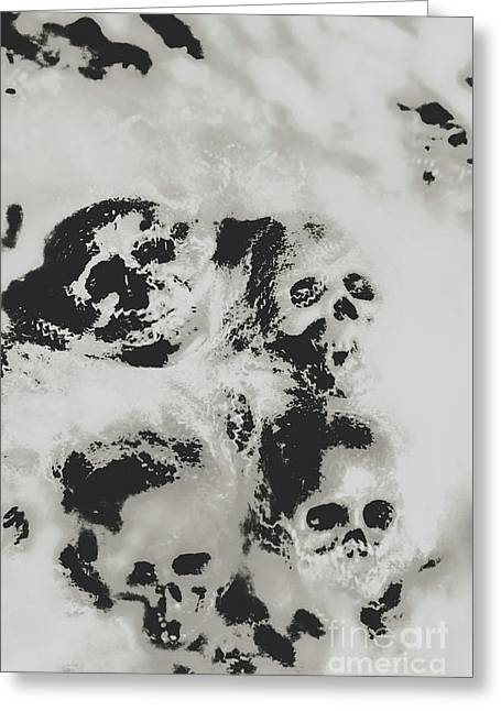 Moody Dramatic Cobwebby Skull Artwork Greeting Card