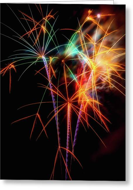 Moody Fireworks Greeting Card