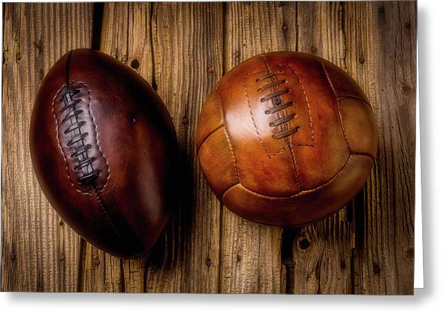 Moody Football And Soccer Ball Greeting Card by Garry Gay