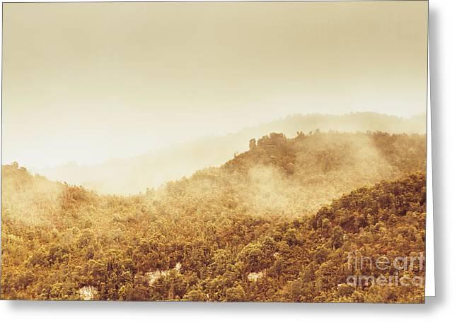 Moody Mountain Morning Greeting Card