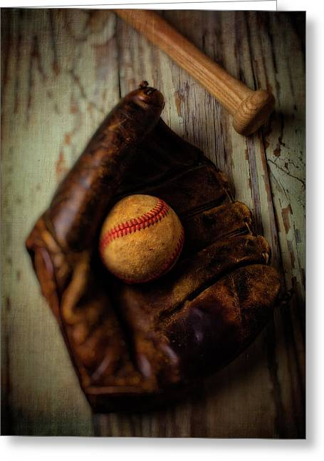 Moody Old Mitt With Bat Greeting Card by Garry Gay